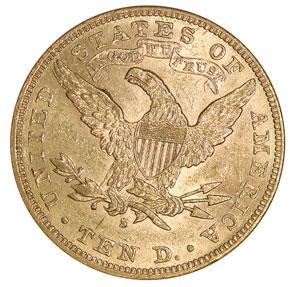 1886 S $10 MS reverse