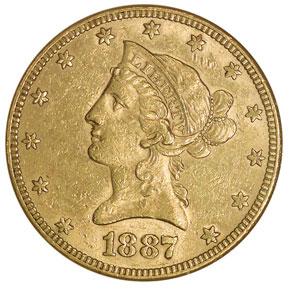1887 $10 MS obverse