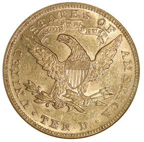 1888 $10 MS reverse