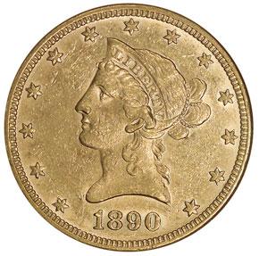 1890 $10 MS obverse