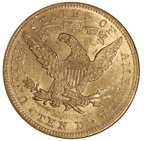 1891 $10 MS reverse
