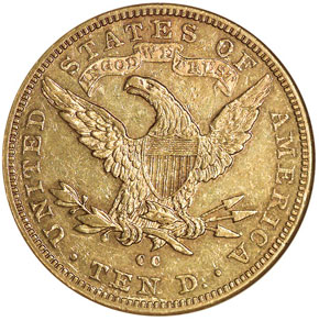 1892 CC $10 MS reverse