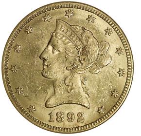 1892 O $10 MS obverse