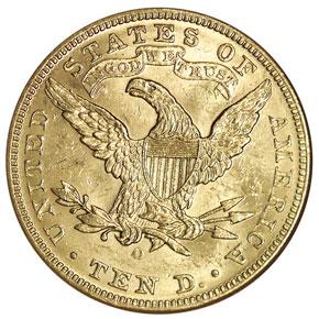 1892 O $10 MS reverse