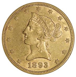 1893 S $10 MS obverse
