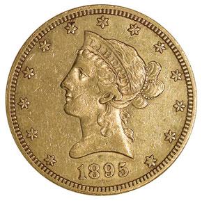 1895 S $10 MS obverse