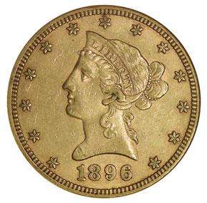 1896 S $10 MS obverse