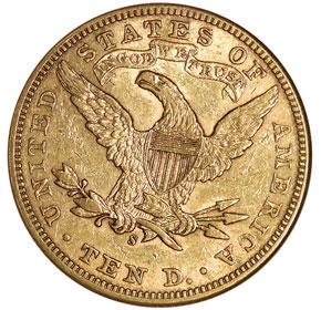 1898 S $10 MS reverse