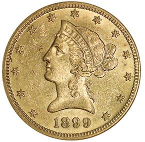 1899 O $10 MS obverse