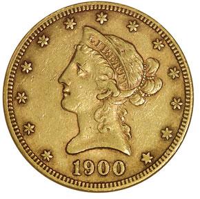 1900 S $10 MS obverse