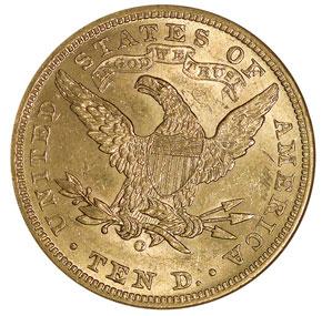 1901 O $10 MS reverse