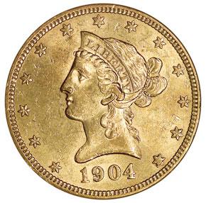 1904 O $10 MS obverse