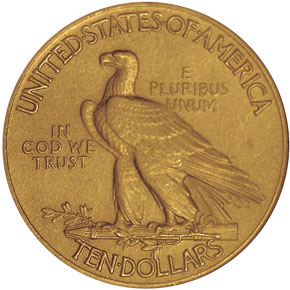 1908 MOTTO $10 PF reverse