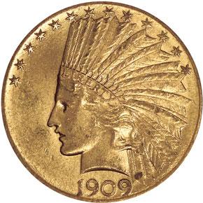 1909 $10 MS obverse