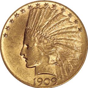 1909 D $10 MS obverse