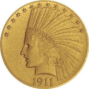 1911 $10 PF obverse