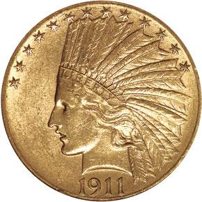 1911 S $10 MS obverse