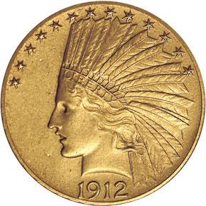 1912 $10 PF obverse