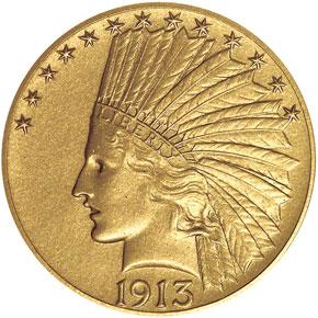 1913 $10 PF obverse