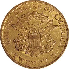 1859 $20 MS reverse