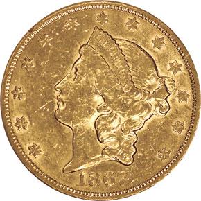 1867 S $20 MS obverse