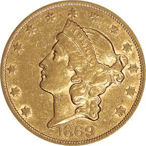 1869 S $20 MS obverse