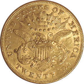 1874 S $20 MS reverse