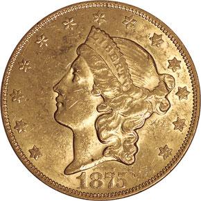 1875 CC $20 MS obverse
