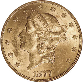 1877 $20 MS obverse
