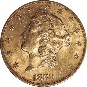 1880 S $20 MS obverse