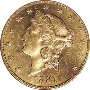 1881 $20 MS obverse