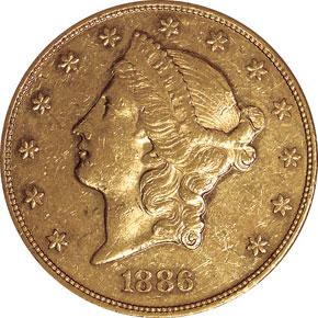 1886 $20 MS obverse