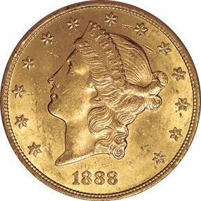 1888 S $20 MS obverse