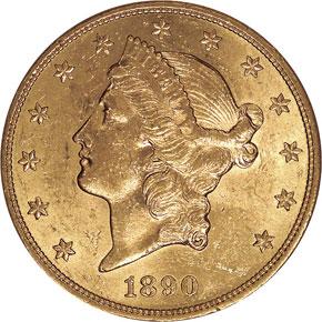 1890 S $20 MS obverse