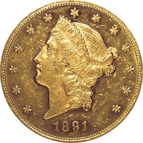 1891 $20 MS obverse
