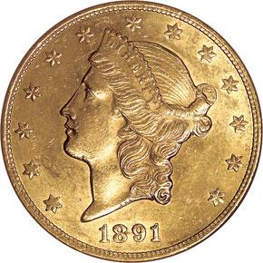 1891 CC $20 MS obverse