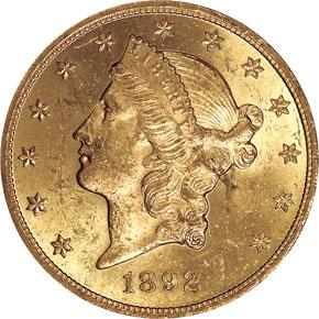 1892 $20 MS obverse