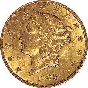 1905 $20 MS obverse
