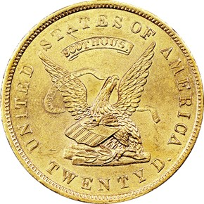 "1853 ""900"" U.S. ASSAY OFFICE $20 MS obverse"