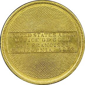 """1853 """"900"""" U.S. ASSAY OFFICE $20 MS reverse"""