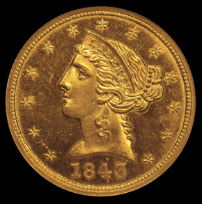 1843 D $5 SP obverse