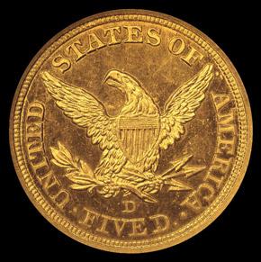 1843 D $5 SP reverse
