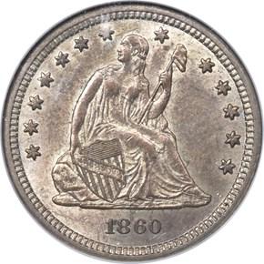 1860 S 25C MS obverse