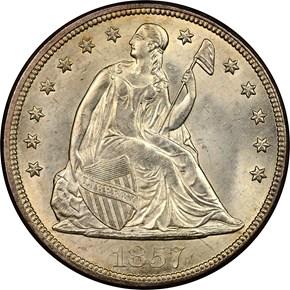 1857 S$1 MS obverse