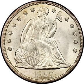 1857 $1 MS obverse