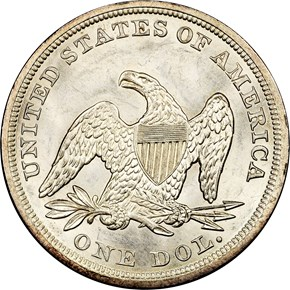 1857 $1 MS reverse