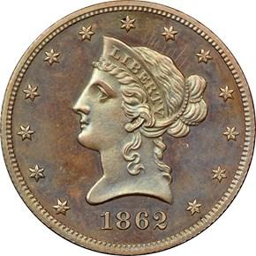 1862 J-298 BRONZED $10 PF obverse