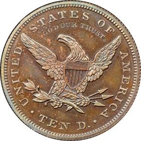 1862 J-298 BRONZED $10 PF reverse