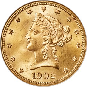 1902 $10 MS obverse