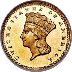 1858 G$1 PF obverse